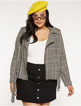 Houndstooth Moto Jacket by Charlotte Russe