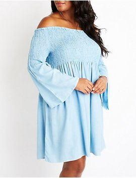 Plus Size Chambray Smocked Dress by Charlotte Russe