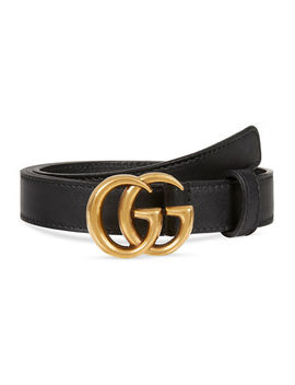 Thin Leather Gg Buckle Belt by Gucci