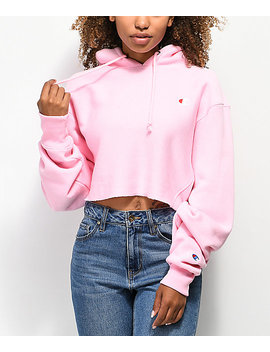 Champion Reverse Weave Pink Crop Hoodie by Champion