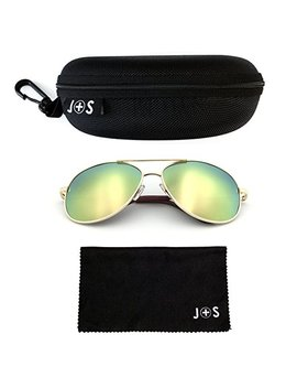 J+S Premium Military Style Classic Aviator Sunglasses, Polarized, 100 Percents Uv Protection by J+S