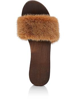 Mink Fur Clog Sandals by Barneys New York