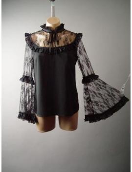 Black Lace Ruffle High Neck Victorian Goth Bell Sleeve Top 284 Mv Blouse S M L by Unbranded