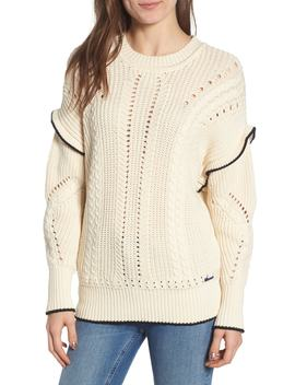 ruffle-cable-knit-sweater by scotch-&-soda