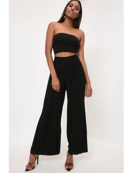 Black Black High Waisted Pleated Trousers by I Saw It First