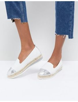 Dune Slip White Leather Espadrilles With Silver Toe Cap by Dune