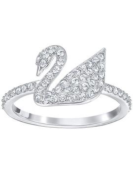 Bague Iconic Swan, Blanc, Métal Rhodié by Cristal Swarovski
