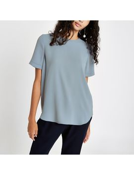 Grey Short Sleeve Zip Back T Shirt by River Island
