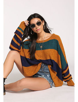Camel Color Block Dolman Sweater Top by Love Culture