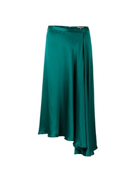 Luna Green Satin Asymmetric Wrap Skirt by Olivar Bonas