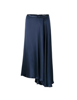 Luna Navy Satin Asymmetric Wrap Skirt by Olivar Bonas