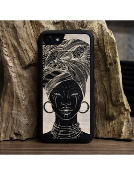 The African Girl   Engraved Wood Case Cover I Phone 4 5 5 C 6 Se 7 8 X Samsung S4 S5 S6 S7 S8 Edge Plus Note 2 3 5 8 A3 A5 A7 J1 J3 J5 J7 by From The Tree Uk