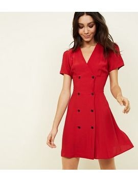 Red Double Breasted Tea Dress by New Look
