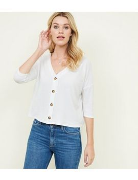 White Ribbed Button Front 3/4 Sleeve Top by New Look