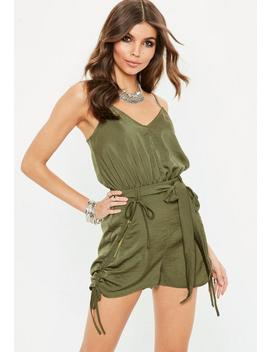 Khaki Cami Cargo Short Romper by Missguided