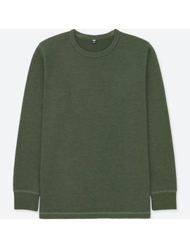 Men Waffle Crew Neck Long Sleeve T Shirt by Uniqlo