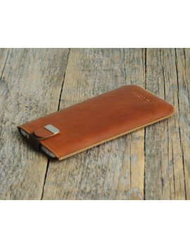 Personalized Samsung Galaxy Note 5 4 Sleeve Genuine Brown Leather Case Magnetic Flap For Closure Of Pouch Cover by Happer Studio
