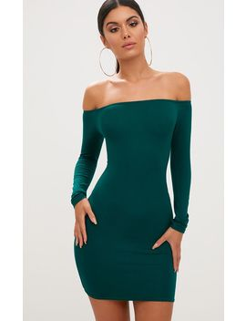 Basic Emerald Green Bardot Bodycon Dress by Prettylittlething