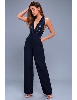 Disco Heaven Navy Blue Sequin Jumpsuit by Lulu's