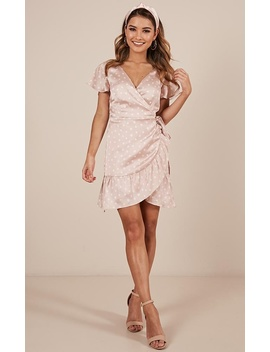 Perfect Foundation Dress In Blush Spot Satin by Showpo Fashion