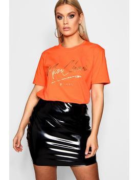 Plus Mon Cheri T Shirt Foil Print by Boohoo