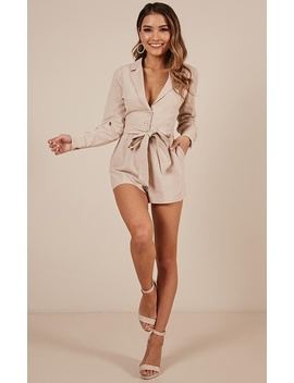 What A Girl Wants Playsuit In Beige by Showpo Fashion