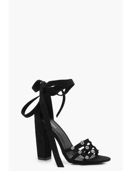 Diamante Cage Wrap Strap Heels by Boohoo