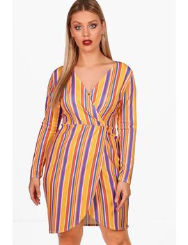 Plus Stripe Wrap Dress by Boohoo