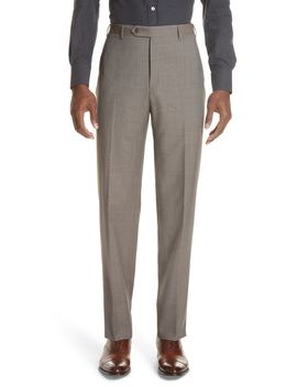 Micro Dot Regular Fit Flat Front Wool Trousers by Canali