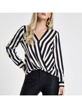 Petite Black Stripe Tuck Front Blouse by River Island