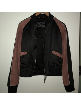 All Saints Two Toned Suede/Silk Bomber Jacket by All Saints