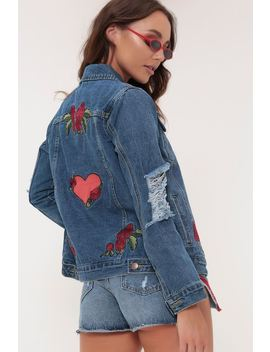 Dark Wash Floral Denim Jacket by I Saw It First