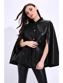 Black Belted Cape Coat by I Saw It First