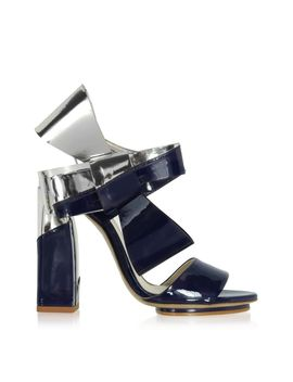 Delpozo Silver And Navy Blue Patent Leather Bow Sandals by Delpozo