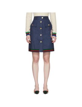 Blue Denim A Line Skirt by Gucci