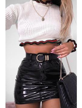 Cream Ruffle Hem With Stripe Trim Chunky Knit Crop Jumper   Alannah by Rebellious Fashion