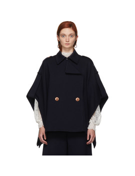 Navy Cape Coat by See By ChloÉ