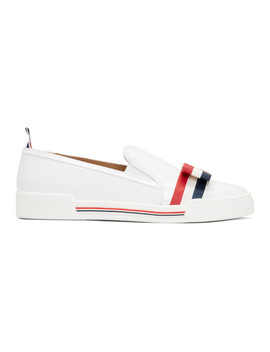 White Bow Slip On Sneakers by Thom Browne