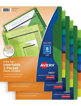 Avery Big Tab Insertable Two Pocket Plastic Dividers, 8 Tab Set, Multicolor, Multi Pack Of 3 Sets (11907) by Avery
