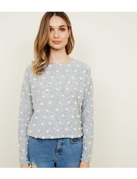 Light Grey Brushed Felted Spot Jumper by New Look