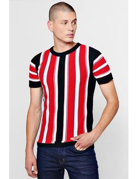 Vertical Stripe Knitted Muscle Fit T Shirt by Boohoo