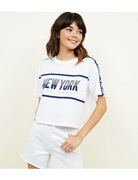 White New York Print Boxy T Shirt by New Look