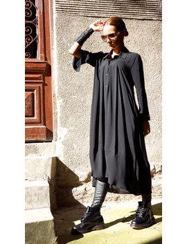 Sexy Soft Hot Black Maxi Hemd / Asymmetrische Shirt / Neue Kollektion Oversize Top Von Aakashaa A11164 by Aakasha