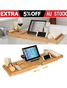 Expandable Bamboo Bath Caddy Wine Glass Holder Tray Over Bathtub Rack Support Au by Homfa