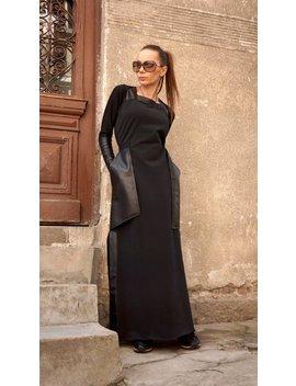 Neue Maxi Kleid Schwarz Kaftan Baumwolle Kleid Leder Seite Taschen Kleid ärmellos Extravagante Lange Teil Kleid Tagwäsche Kleid A03374 by Aakasha