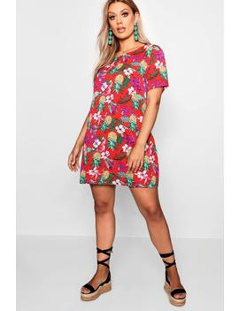 Plus Bethany Floral Print Shift Dress by Boohoo