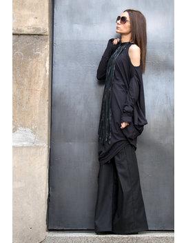 Oversize Schwarz Locker Lässig Oben / Sexy Schulter Geschnitten / Asymmetrische Raglan Lange Ärmel / Maxi Bluse A02122 by Aakasha