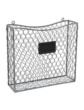 Country Rustic Gray Metal Wire Wall Mounted Magazine, File & Mail Holder Basket W/ Chalkboard Label by My Gift
