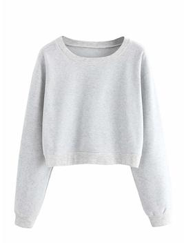 Verdusa Women's Casual Long Sleeve Pullover Sweatshirt Crop Tops Shirt by Verdusa
