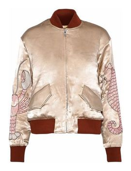Leclair Embroidered Satin Bomber Jacket by Ganni